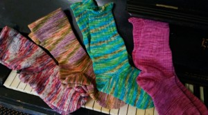 Hand dyed washable BFL wool and bamboo socks.